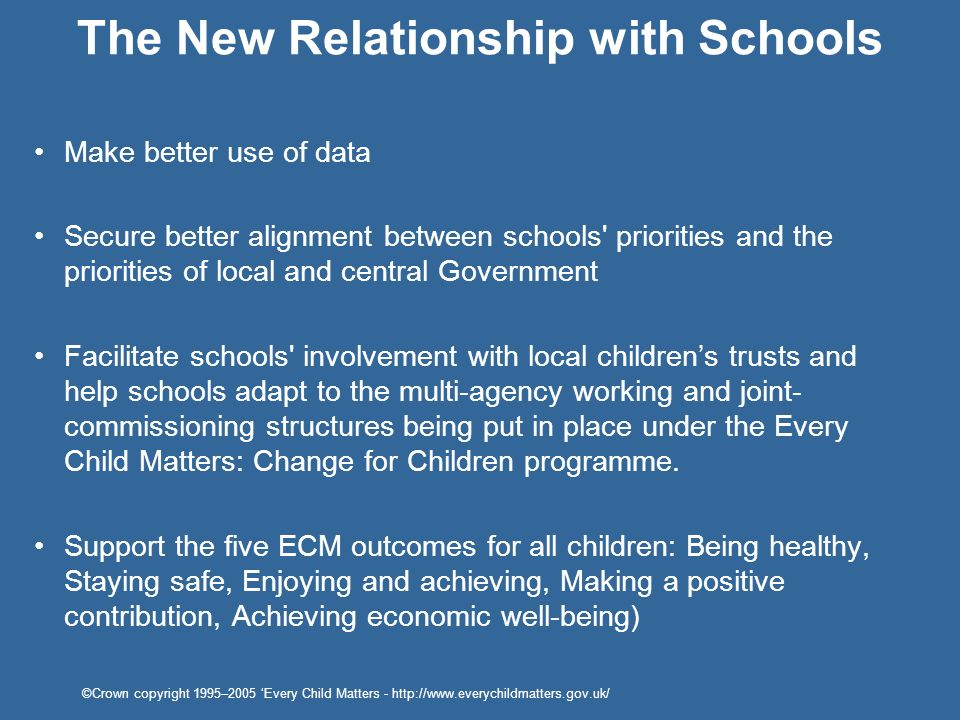Make better use of data Secure better alignment between schools' priorities and the priorities of local and central Government Facilitate schools' inv