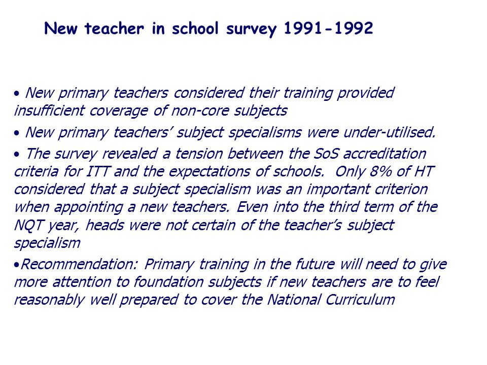 New teacher in school survey 1991-1992 New primary teachers considered their training provided insufficient coverage of non-core subjects New primary