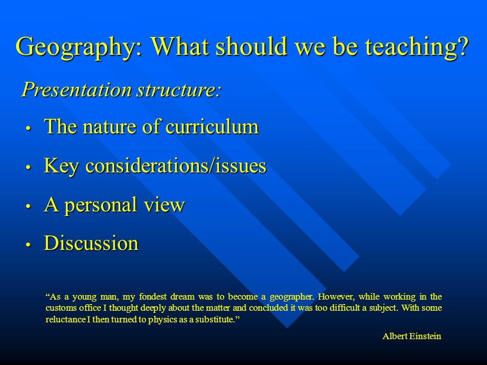 Geography: What should we be teaching.