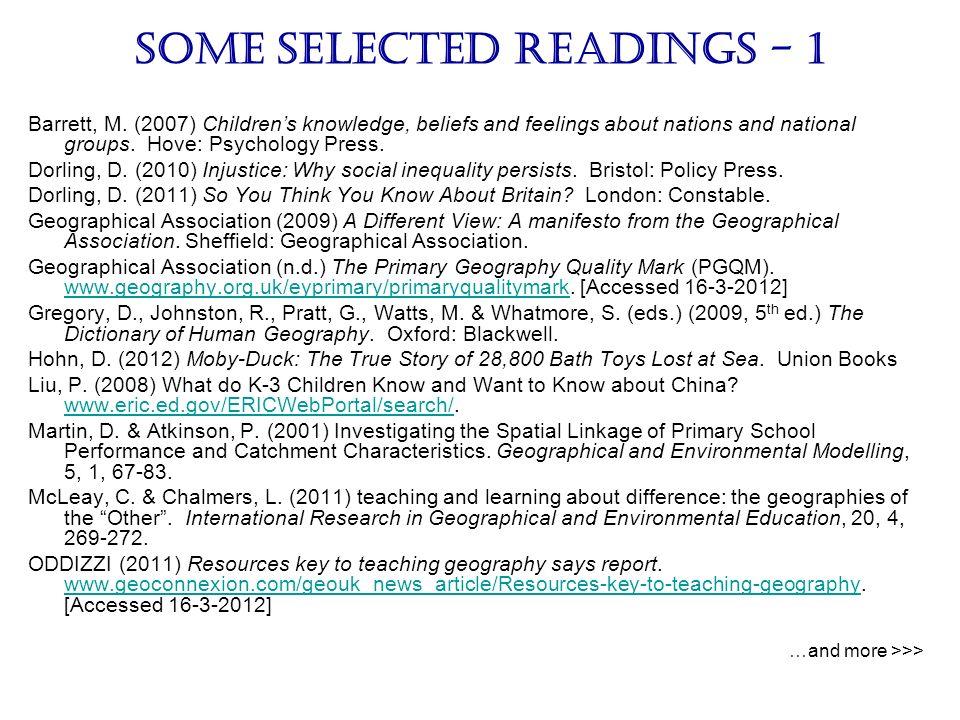 Some selected readings - 1 Barrett, M.