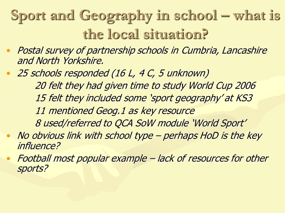 Sport and Geography in school – what is the local situation.