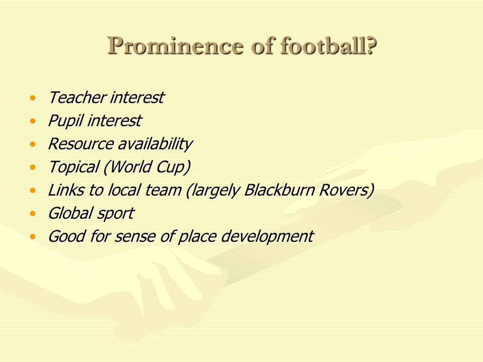 Prominence of football.