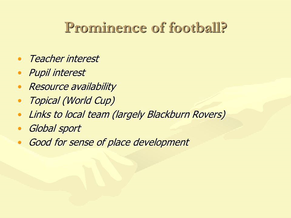 Prominence of football? Teacher interestTeacher interest Pupil interestPupil interest Resource availabilityResource availability Topical (World Cup)To