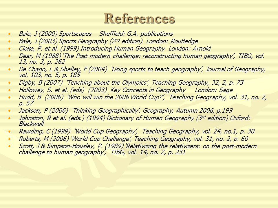 References Bale, J (2000) Sportscapes Sheffield: G.A. publicationsBale, J (2000) Sportscapes Sheffield: G.A. publications Bale, J (2003) Sports Geogra