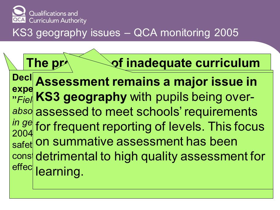 KS3 geography issues – QCA monitoring 2005 The problems of inadequate curriculum planning and poor quality teaching and learning at KS3. A combination