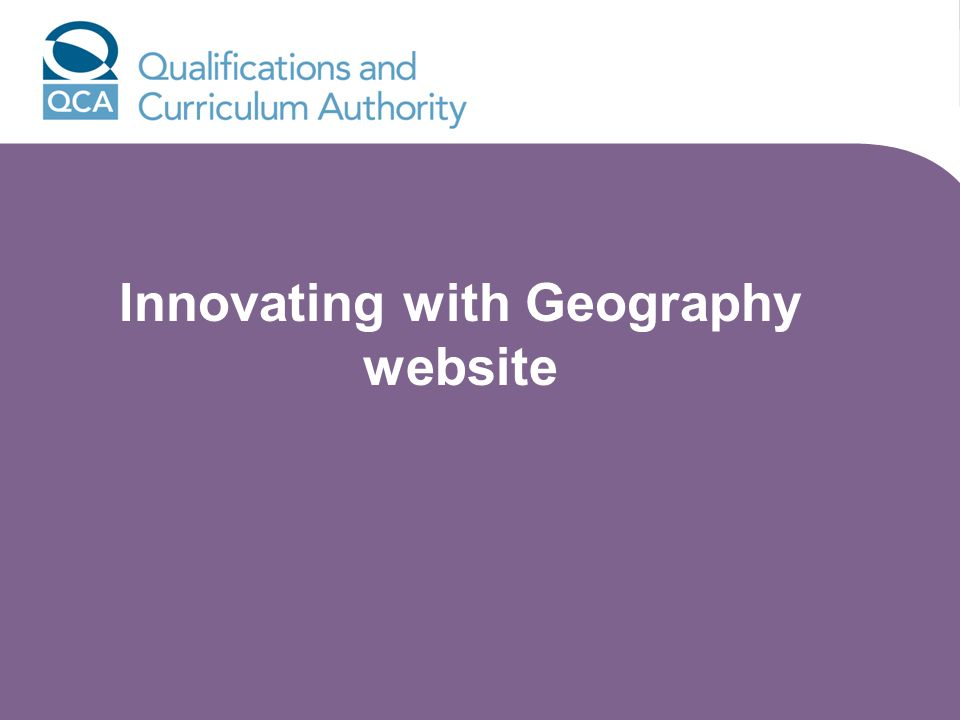 Innovating with Geography website