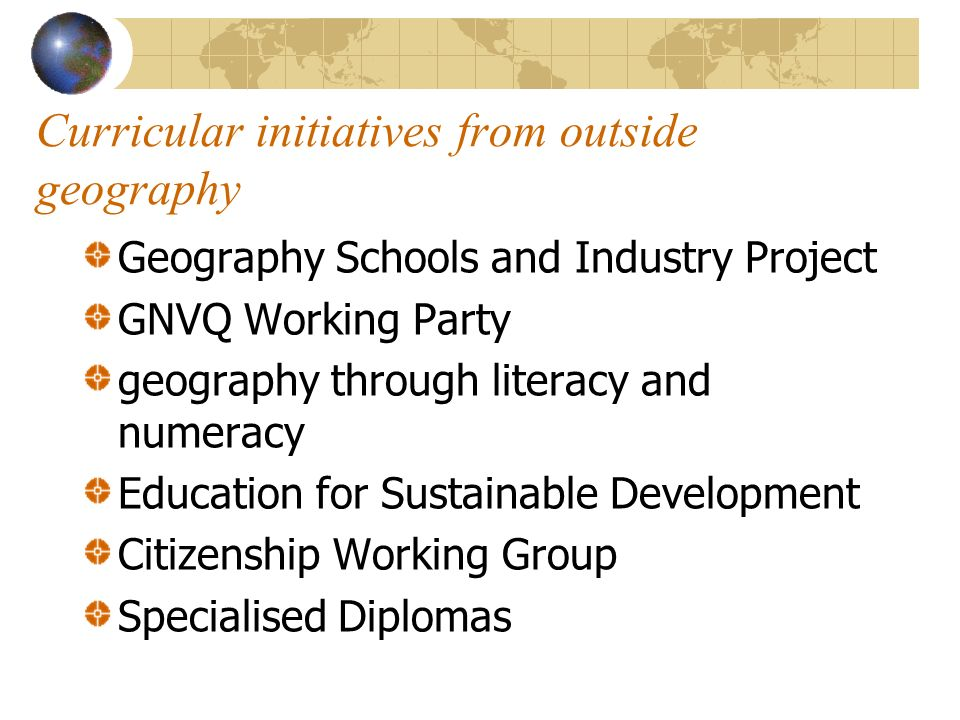 Curricular initiatives from outside geography Geography Schools and Industry Project GNVQ Working Party geography through literacy and numeracy Education for Sustainable Development Citizenship Working Group Specialised Diplomas