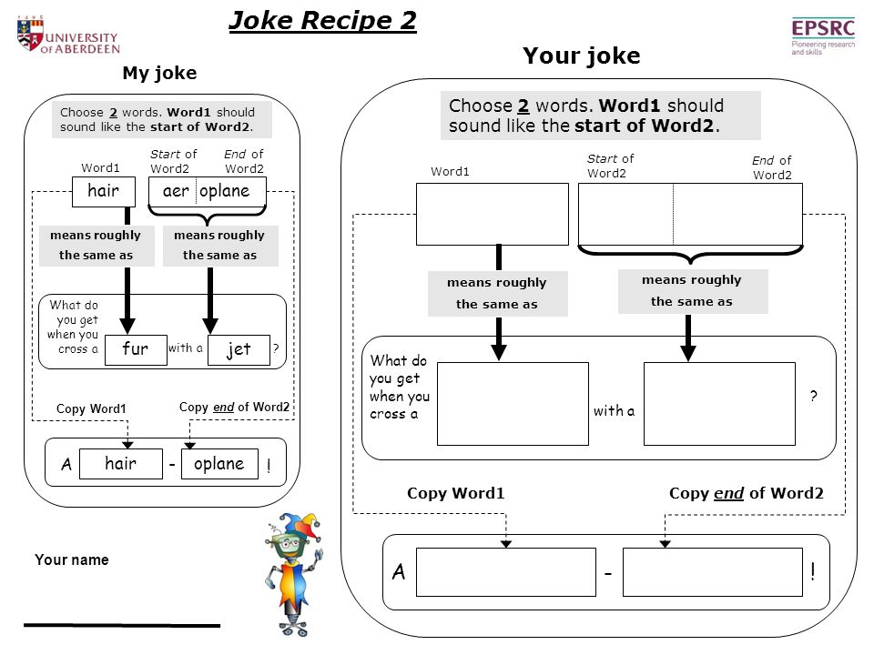 End of Word2 Joke Recipe 2 A hairoplane .