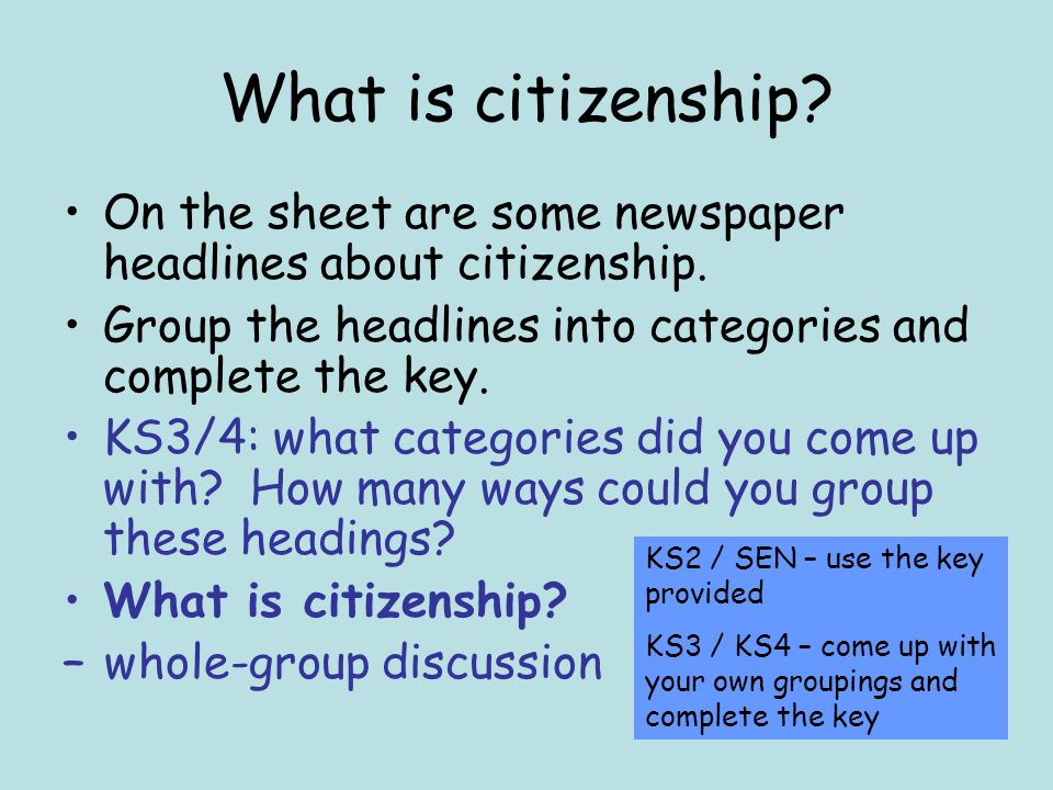 What is citizenship. On the sheet are some newspaper headlines about citizenship.