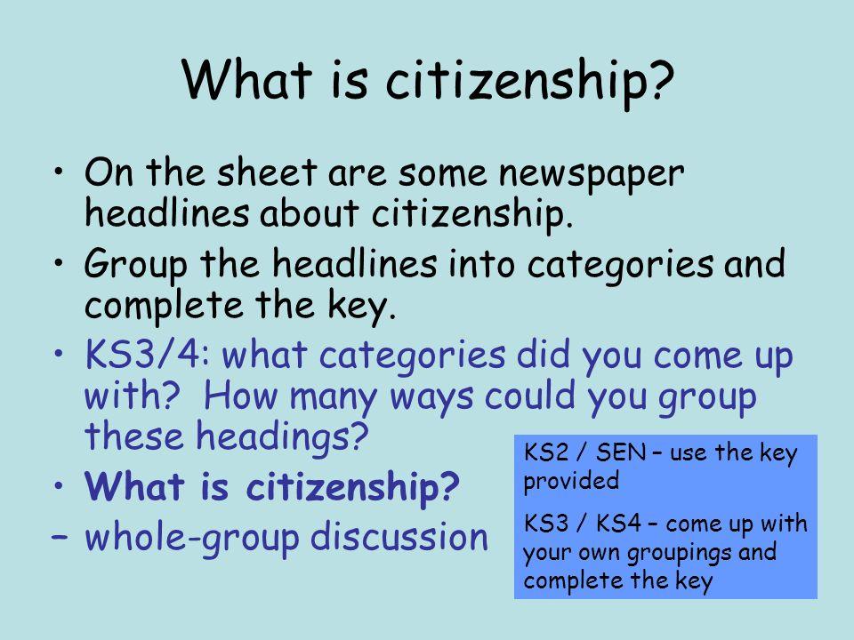 KS2 / SEN Starter Activity What is citizenship.