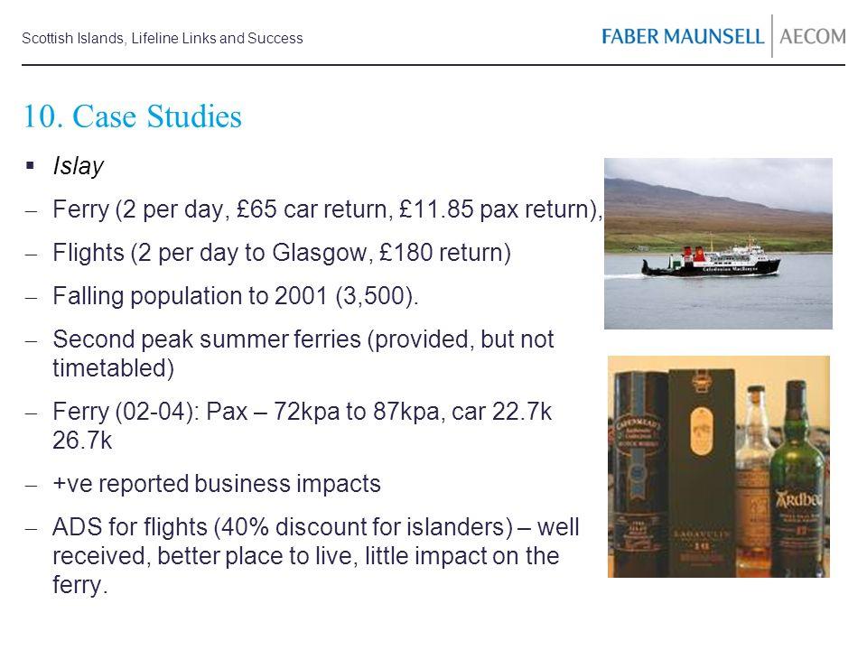 Scottish Islands, Lifeline Links and Success 10. Case Studies Islay Ferry (2 per day, £65 car return, £11.85 pax return), Flights (2 per day to Glasgo