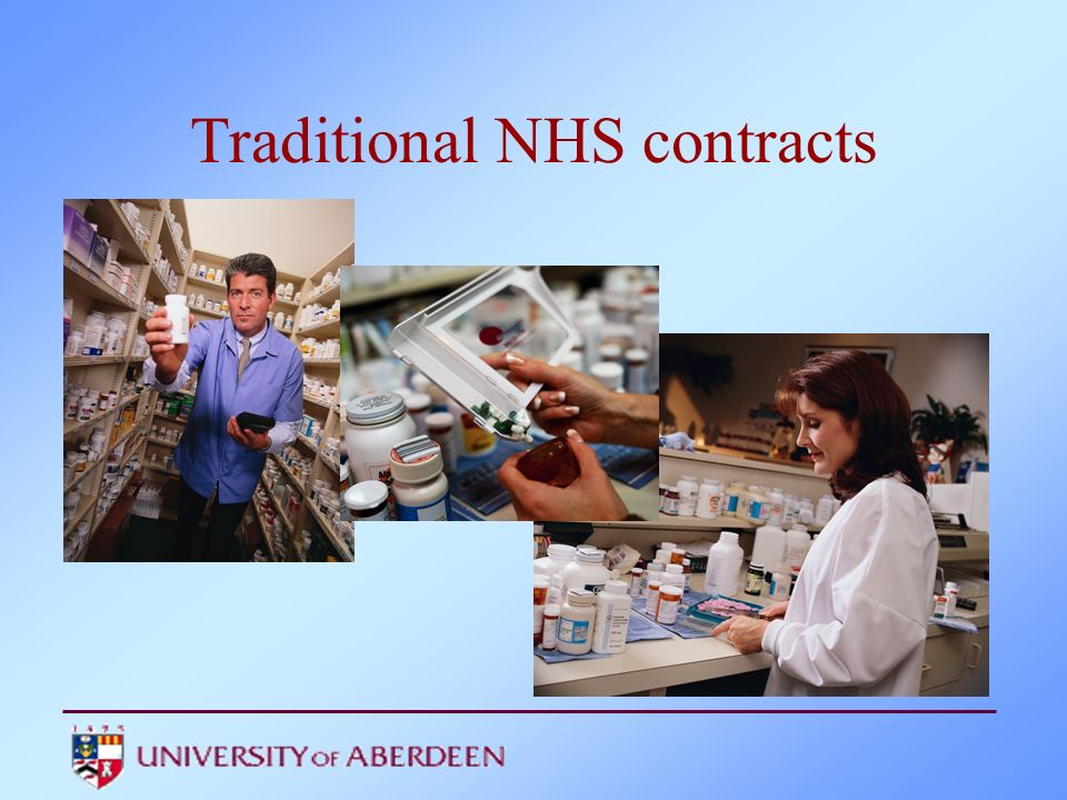 Traditional contracts Dispensing of prescriptions –volume driven payment Displaying leaflets Providing opportunistic advice on dispensed medicines –professional fee Locally negotiated services –eg drug misusers, nursing homes, compliance needs assessment, smoking cessation Recognition of other private health care roles –Sales of OTC medicines
