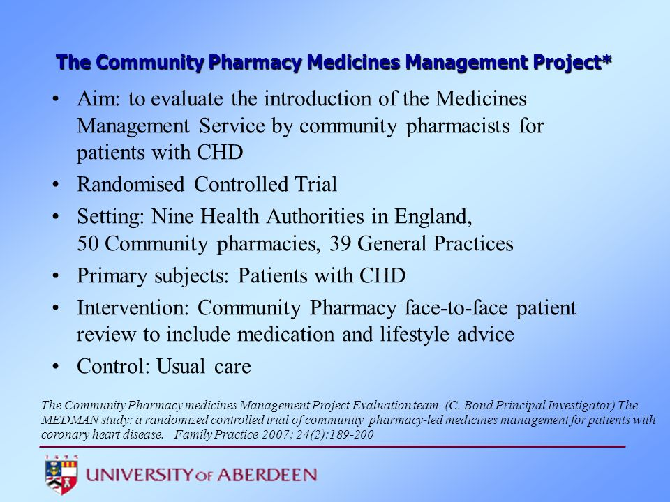 Aim: to evaluate the introduction of the Medicines Management Service by community pharmacists for patients with CHD Randomised Controlled Trial Setti