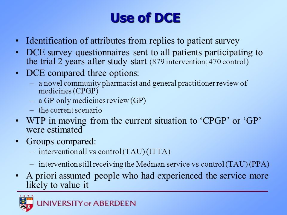 Identification of attributes from replies to patient survey DCE survey questionnaires sent to all patients participating to the trial 2 years after st