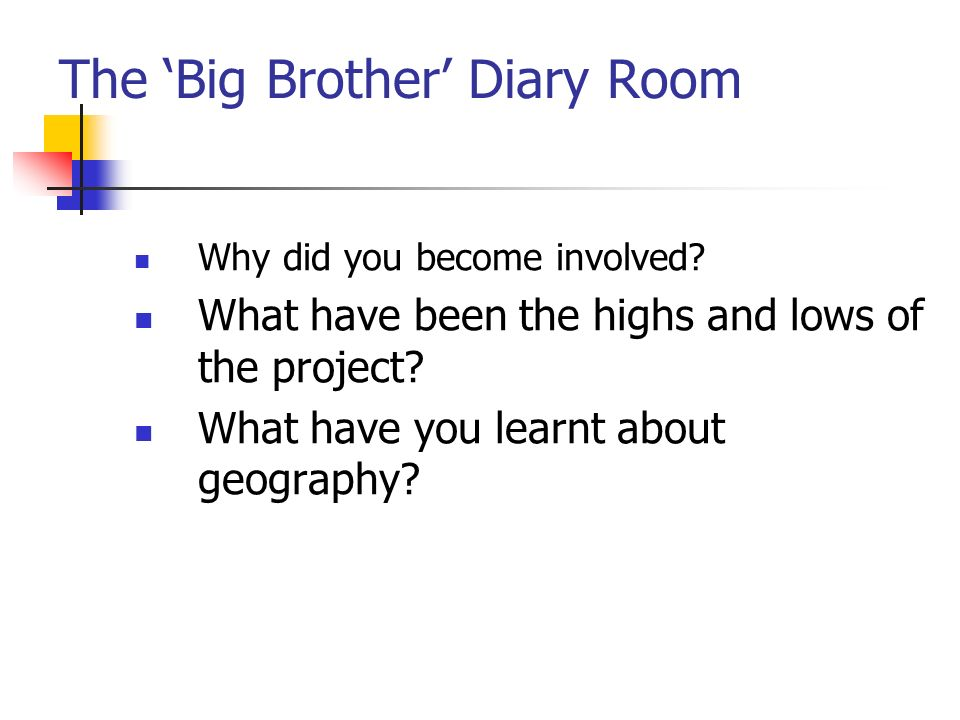 The Big Brother Diary Room Why did you become involved.