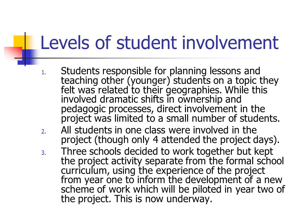 Levels of student involvement 1.