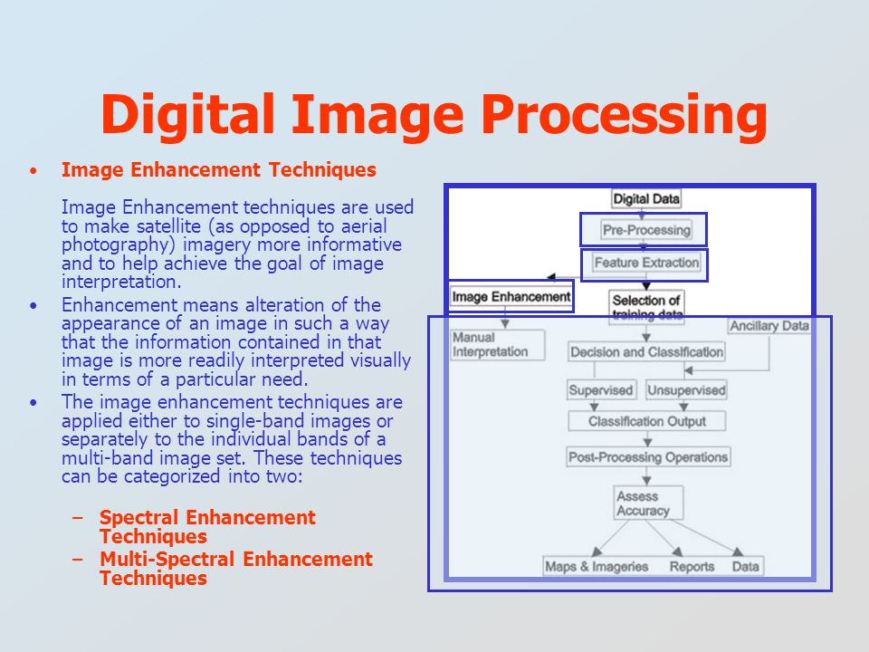 Image Enhancement Techniques Image Enhancement techniques are used to make satellite (as opposed to aerial photography) imagery more informative and t