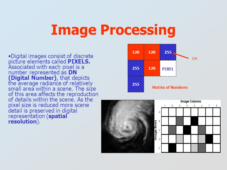 Digital images consist of discrete picture elements called PIXELS. Associated with each pixel is a number represented as DN (Digital Number), that dep