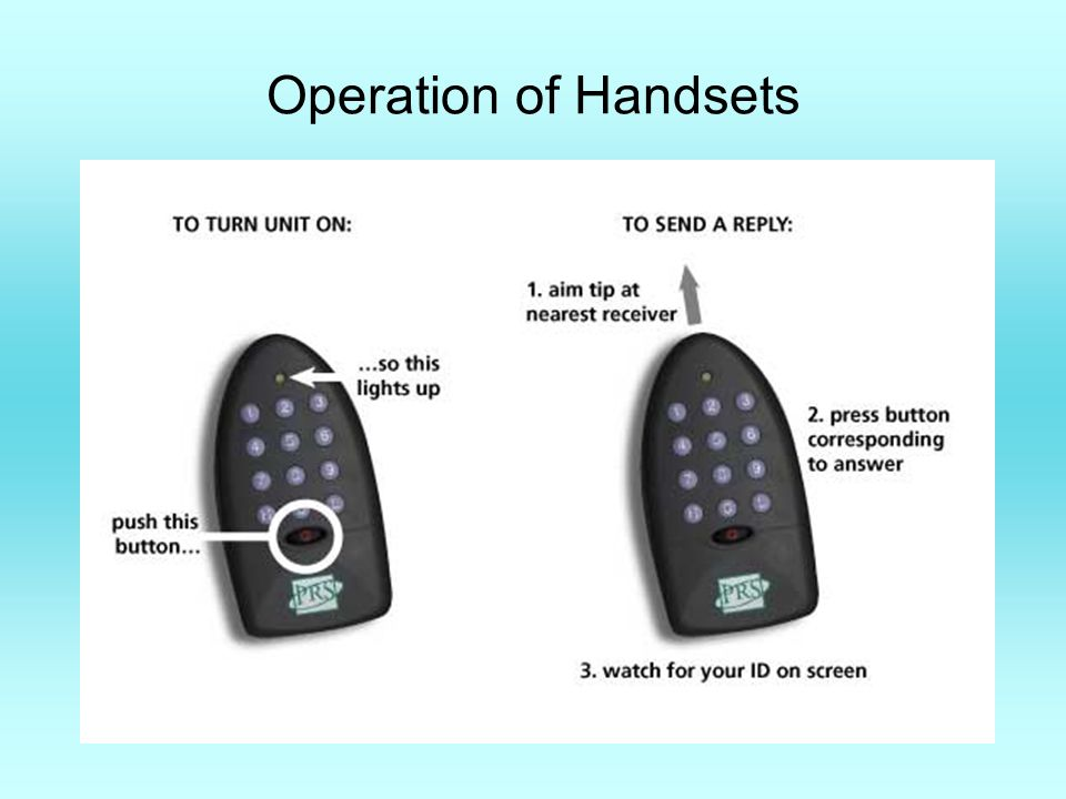 Operation of Handsets