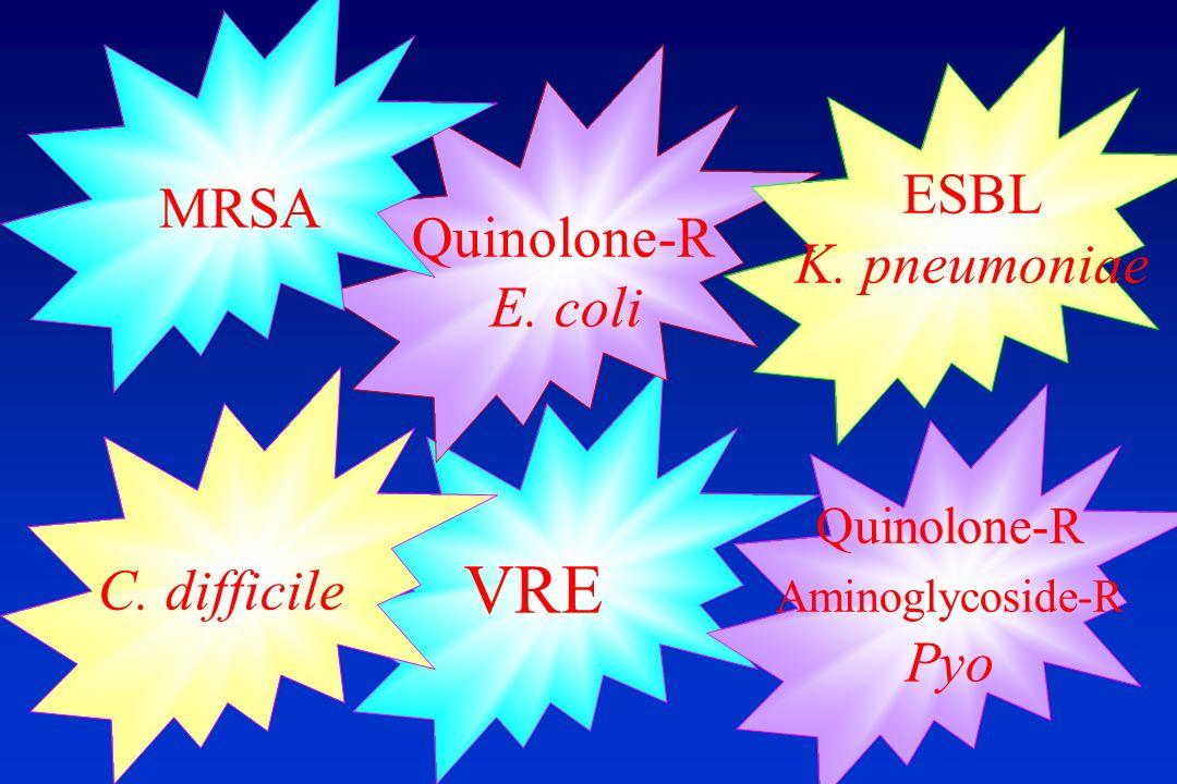 VRE Quinolone-R E. coli ESBL K. pneumoniae MRSA C. difficile Quinolone-R Aminoglycoside-R Pyo