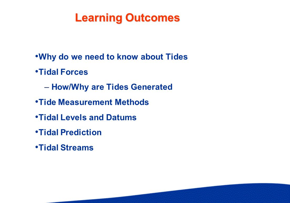 Predicting Tides Harmonic Method Rigorous Mathematical Formula Admiralty Method At Primary Port - from published Admiralty Tide Tables At Secondary Ports - modifications - Simplified Harmonic Tidal Differences and Ratios - Co-Tides Establish Datum for Soundings in Offshore Areas Use Co-Tidal Chart to Predict Tidal Information at Sea Co-Tidal LinesMHWIEqual Time of HW Co-Range LinesMSREqual Tidal Range Relative to Nearest Standard Port