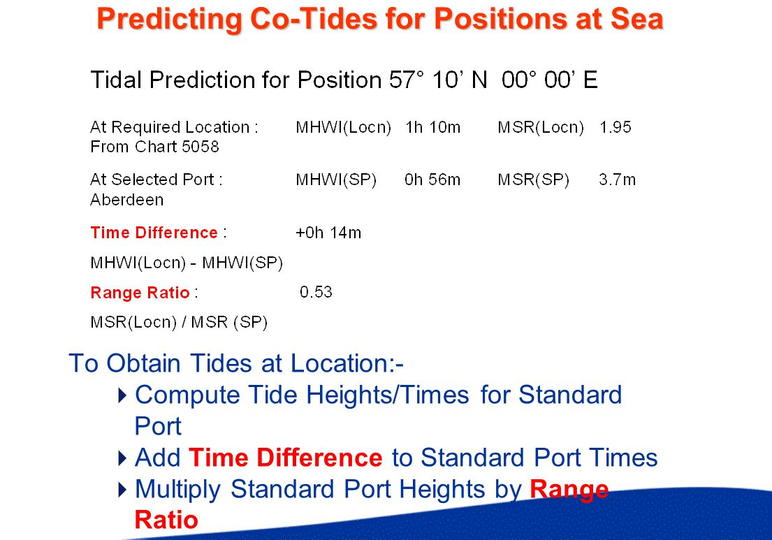 Predicting Co-Tides for Positions at Sea To Obtain Tides at Location:- Compute Tide Heights/Times for Standard Port Add Time Difference to Standard Po