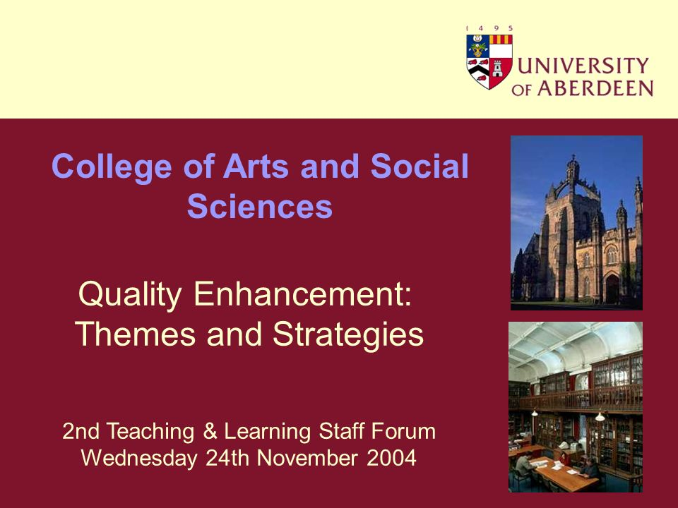 Part 1 Enhancement Themes College of Arts and Social Sciences