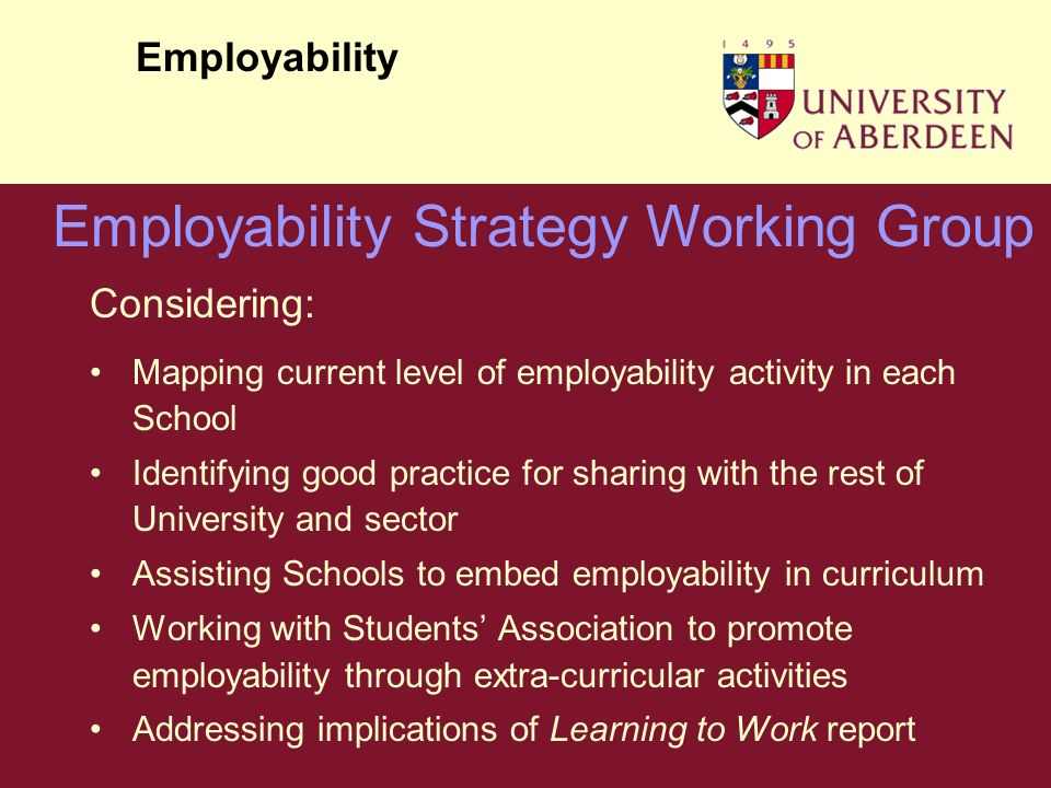 Considering: Mapping current level of employability activity in each School Identifying good practice for sharing with the rest of University and sector Assisting Schools to embed employability in curriculum Working with Students Association to promote employability through extra-curricular activities Addressing implications of Learning to Work report Employability Employability Strategy Working Group