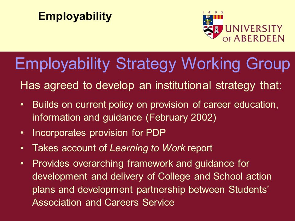 Has agreed to develop an institutional strategy that: Builds on current policy on provision of career education, information and guidance (February 2002) Incorporates provision for PDP Takes account of Learning to Work report Provides overarching framework and guidance for development and delivery of College and School action plans and development partnership between Students Association and Careers Service Employability Employability Strategy Working Group