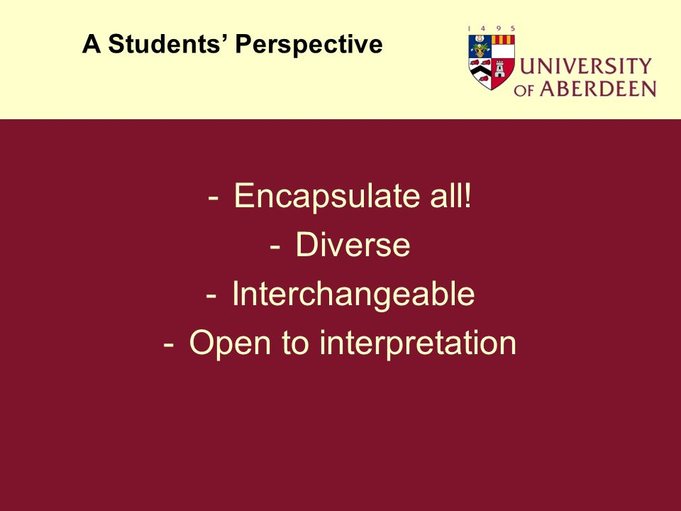 -Encapsulate all! -Diverse -Interchangeable -Open to interpretation A Students Perspective