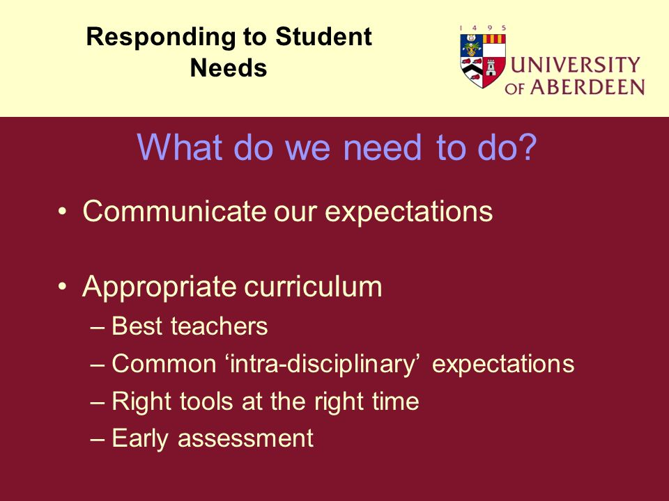 Communicate our expectations Appropriate curriculum –Best teachers –Common intra-disciplinary expectations –Right tools at the right time –Early assessment Responding to Student Needs What do we need to do