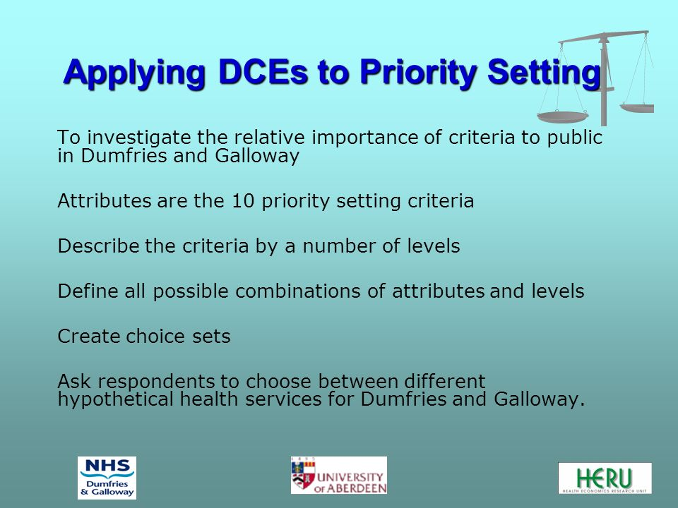 Applying DCEs to Priority Setting To investigate the relative importance of criteria to public in Dumfries and Galloway Attributes are the 10 priority setting criteria Describe the criteria by a number of levels Define all possible combinations of attributes and levels Create choice sets Ask respondents to choose between different hypothetical health services for Dumfries and Galloway.