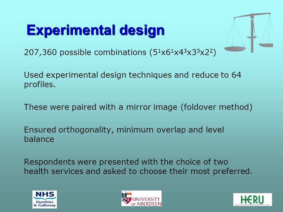 Experimental design 207,360 possible combinations (5 1 x6 1 x4 3 x3 3 x2 2 ) Used experimental design techniques and reduce to 64 profiles.