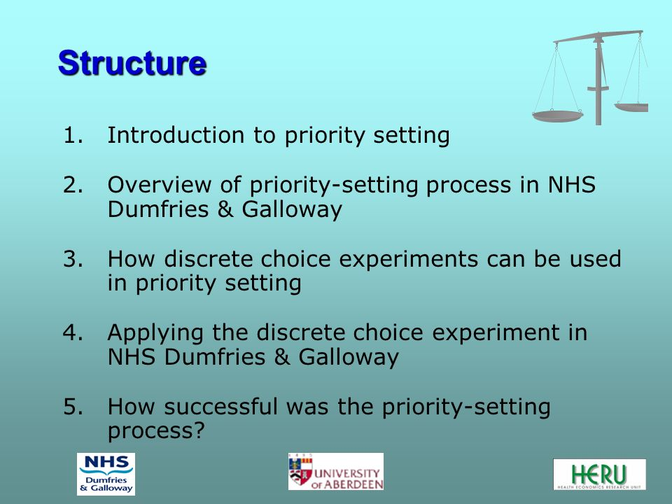 Structure 1.Introduction to priority setting 2.Overview of priority-setting process in NHS Dumfries & Galloway 3.How discrete choice experiments can be used in priority setting 4.Applying the discrete choice experiment in NHS Dumfries & Galloway 5.How successful was the priority-setting process