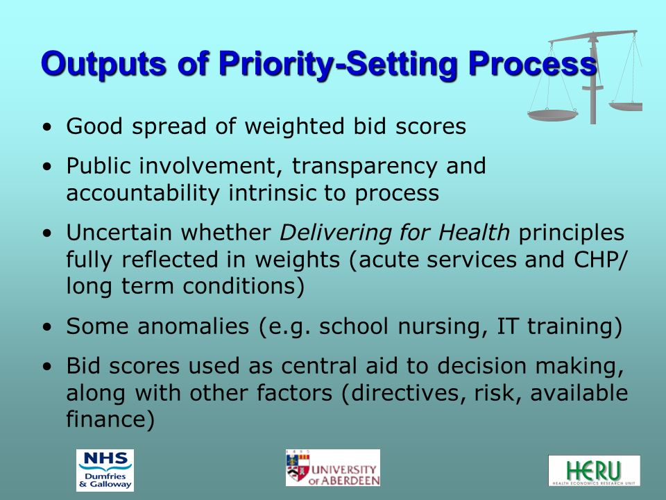 Outputs of Priority-Setting Process Good spread of weighted bid scores Public involvement, transparency and accountability intrinsic to process Uncert