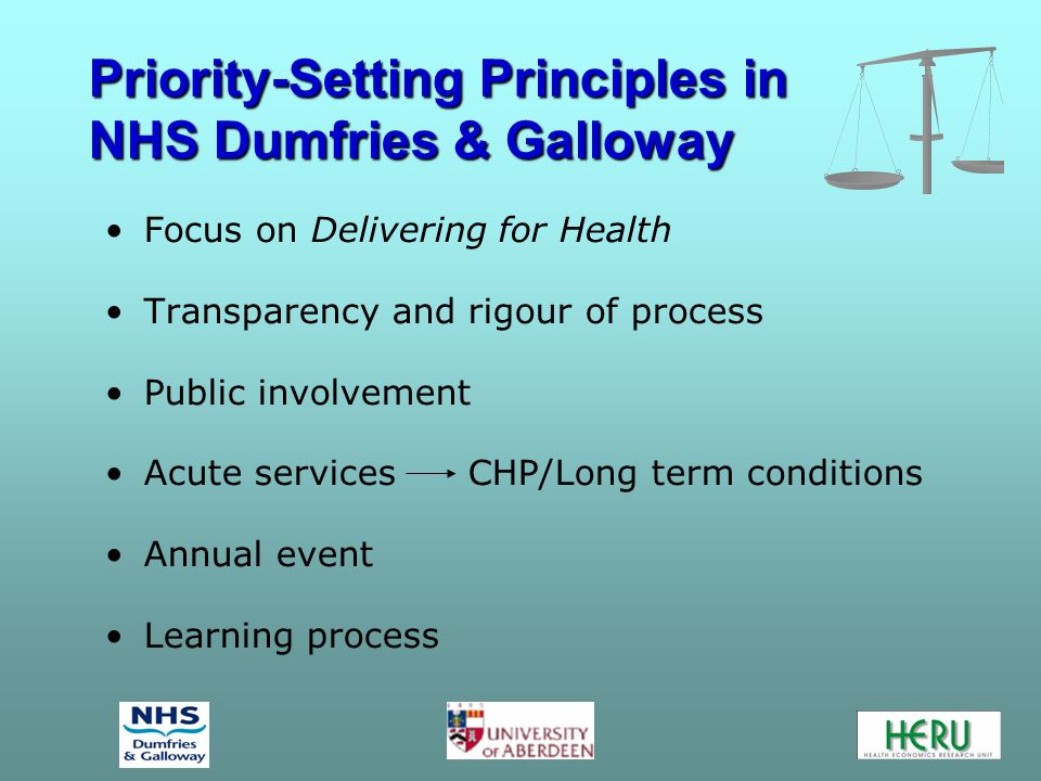 Priority-Setting Criteria Ten Criteria were chosen based on Delivering for Health 1.Location of care 2.Public consultation while developing project 3.Use of latest technology 4.Service availability 5.Patient involvement in own care 6.Management of care 7.Evidence of clinical effectiveness 8.Health gain 9.Risk avoidance 10.Priority area