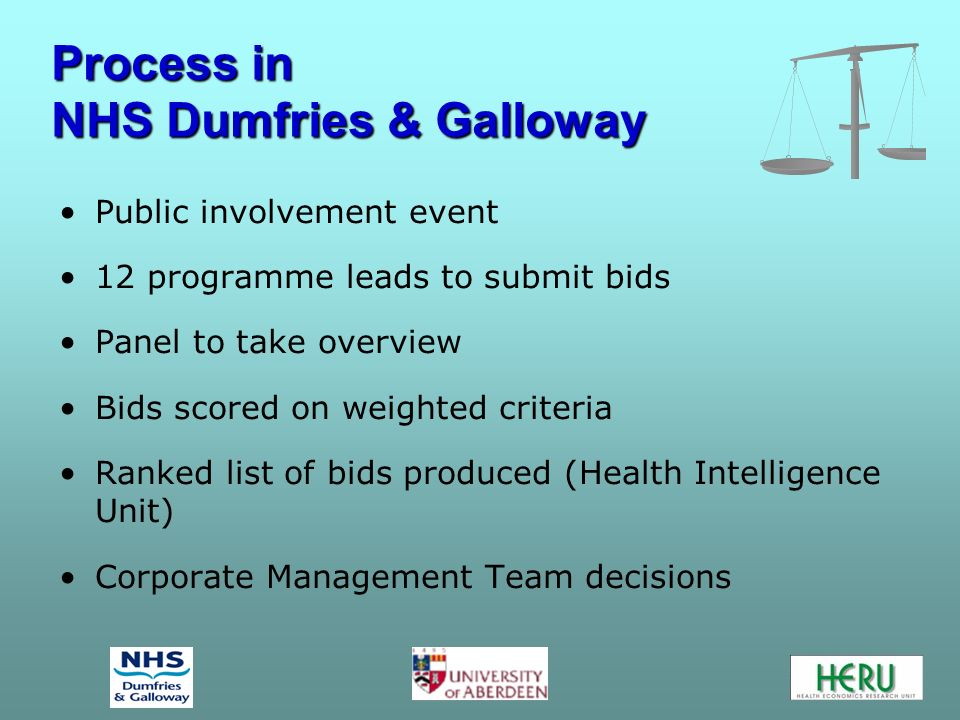 Process in NHS Dumfries & Galloway Process in NHS Dumfries & Galloway Public involvement event 12 programme leads to submit bids Panel to take overvie