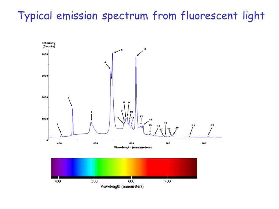 Typical emission spectrum from fluorescent light