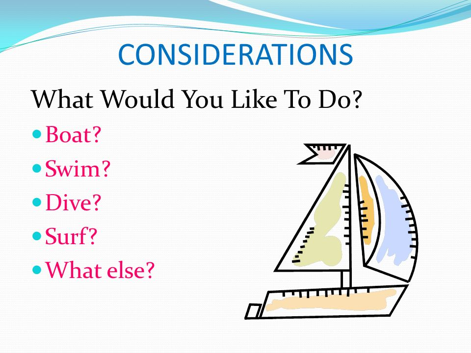 CONSIDERATIONS What Would You Like To Do Boat Swim Dive Surf What else