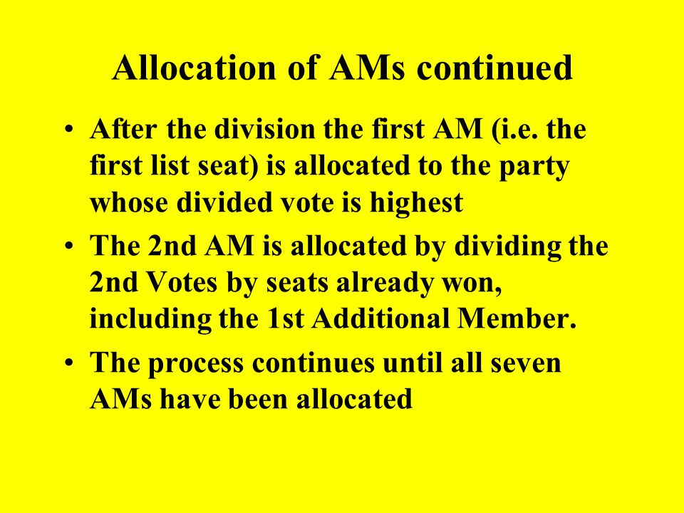 Allocation of Regional Additional Members (i.e. 2 nd vote seats) The regional list votes (i.e. 2 nd votes) across all the FPTP constituencies in a reg