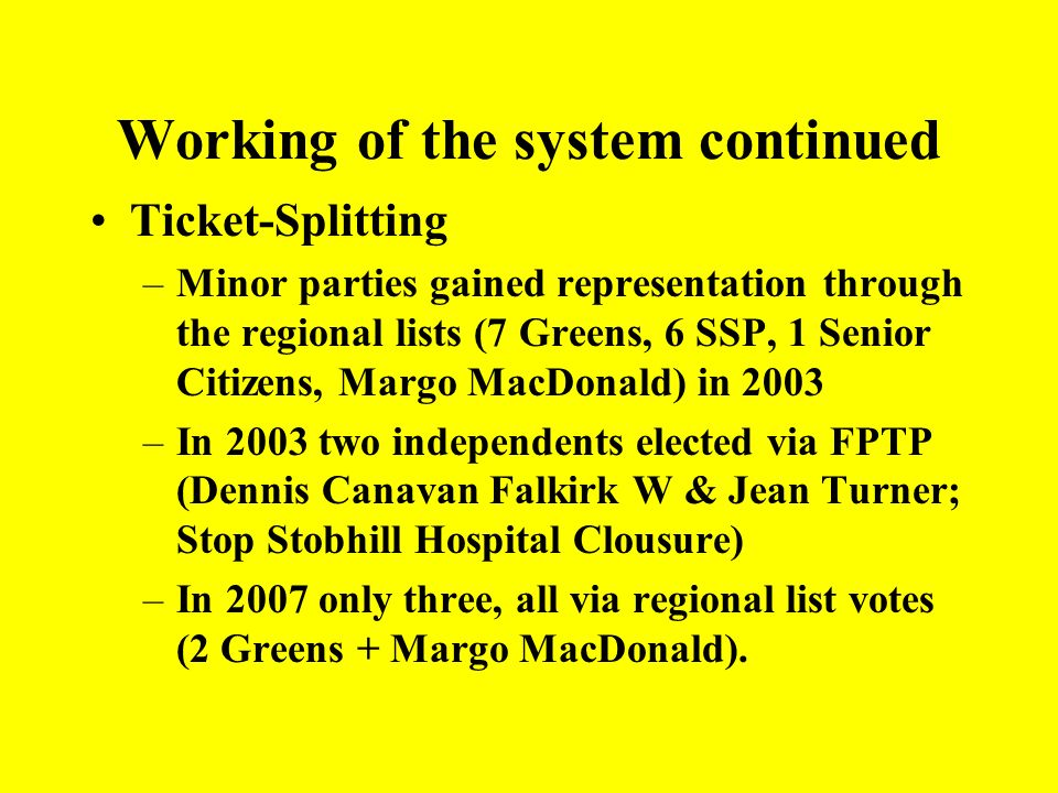 Working of the system continued The Liberal Democrats held the balance of power in the parliament More parties contested the regional lists than FPTP