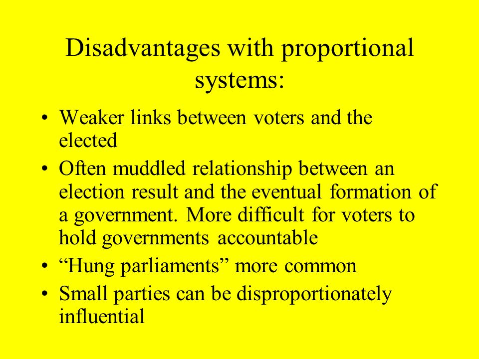 AMS and STV systems are proportional systems. Advantages: Votes count (roughly) equal; fewer votes are wasted Voters have more parties with a realisti
