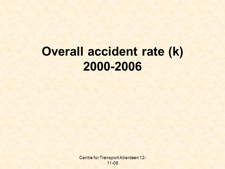 Centre for Transport Aberdeen 12- 11-08 Overall accident rate (k) 2000-2006