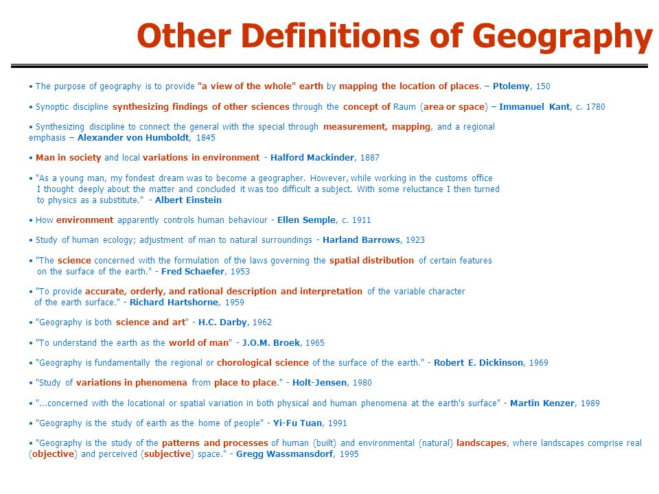 The purpose of geography is to provide