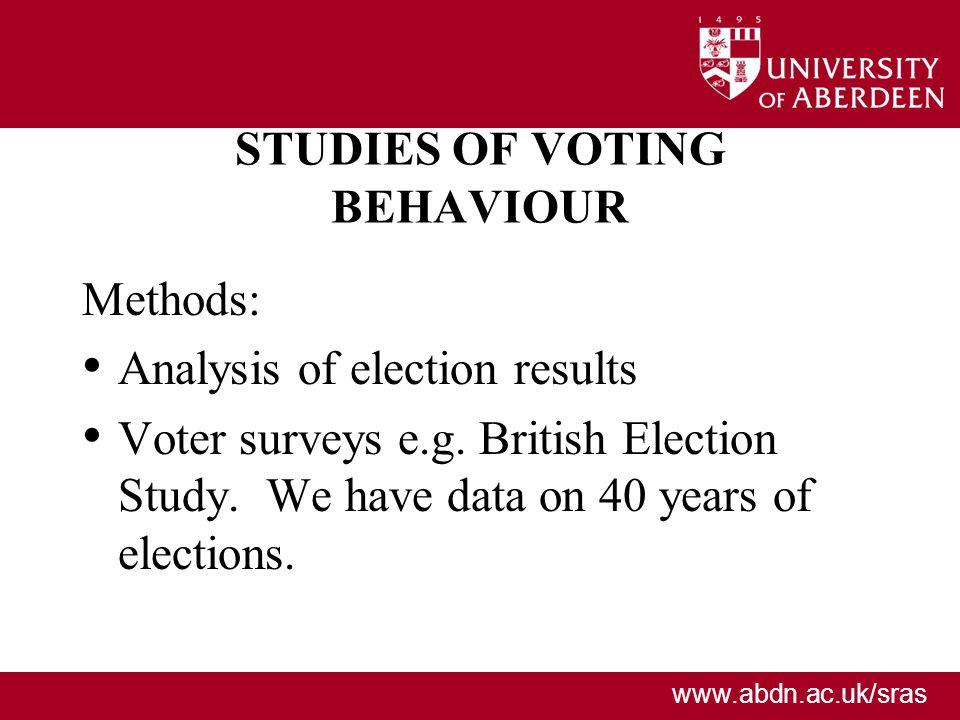 www.abdn.ac.uk/sras STUDIES OF VOTING BEHAVIOUR Methods: Analysis of election results Voter surveys e.g. British Election Study. We have data on 40 ye