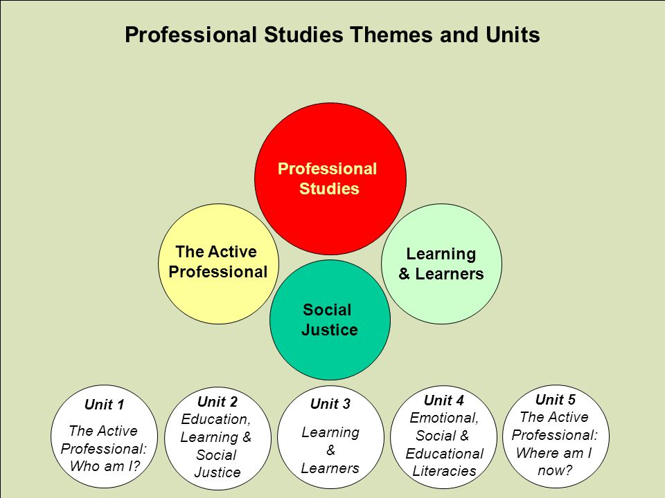 www.abdn.ac.uk/sras Learning & Learners Social Justice The Active Professional Studies Unit 1 The Active Professional: Who am I? Unit 2 Education, Lea