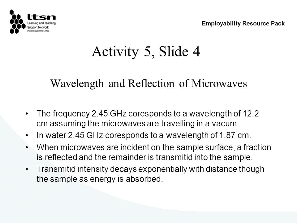 Activity 5, Slide 4 Wavelength and Reflection of Microwaves The frequency 2.45 GHz coresponds to a wavelength of 12.2 cm assuming the microwaves are travelling in a vacum.