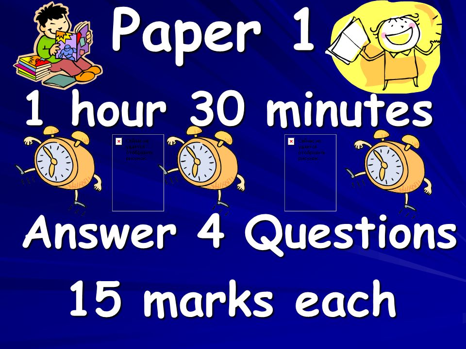Paper 1 1 hour 30 minutes Answer 4 Questions 15 marks each