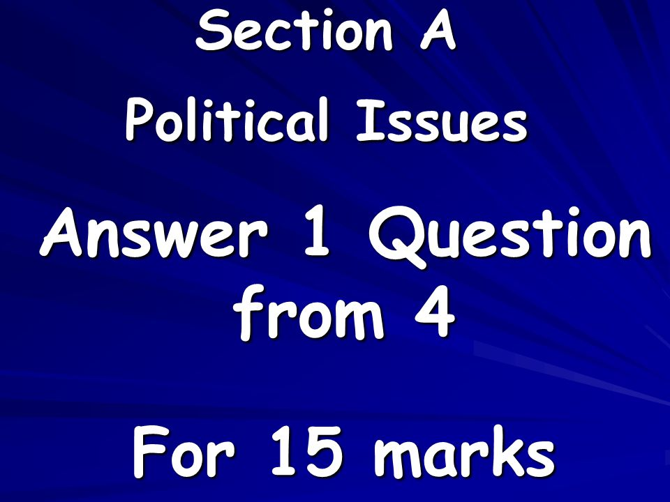 Section A Political Issues Answer 1 Question from 4 For 15 marks
