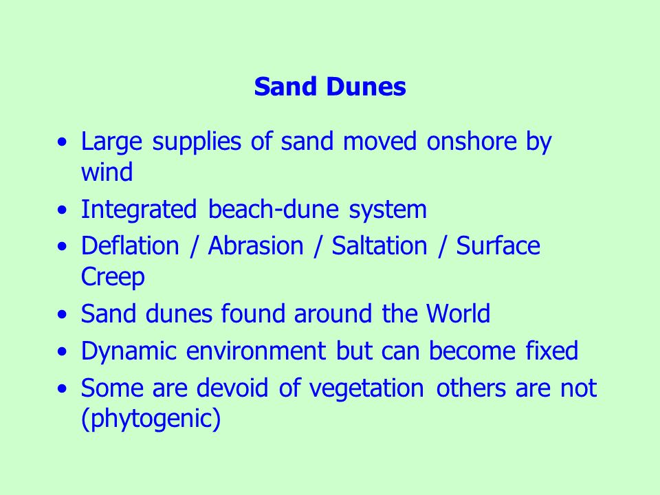 Large supplies of sand moved onshore by wind Integrated beach-dune system Deflation / Abrasion / Saltation / Surface Creep Sand dunes found around the